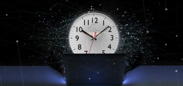 Homem, segurando, um, relógio, cronômetro, 3d, fazendo