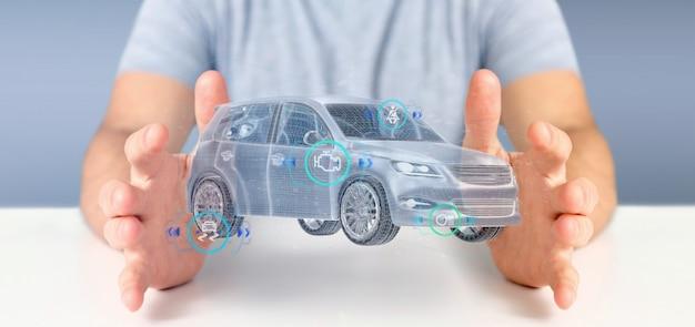 Homem, segurando, um, smartcar, com, checkings, 3d, fazendo