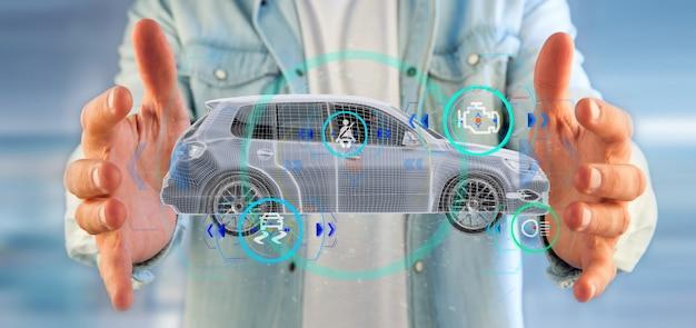 Homem, segurando, um, smartcar, com, checkings