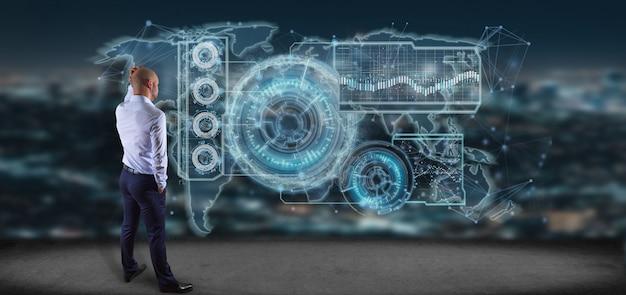 Homem, segurando, um, tecnologia, interface, 3d, fazendo