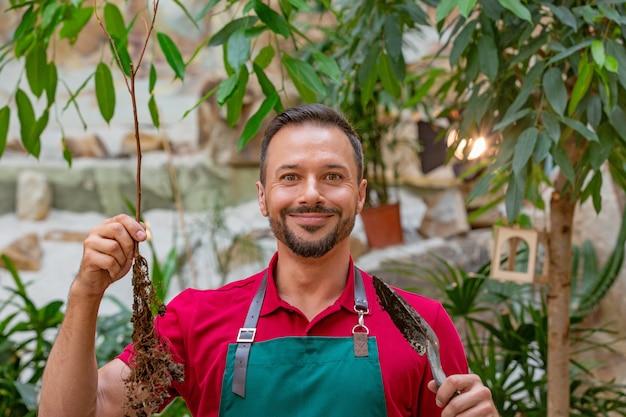 Homem segurando uma árvore jovem com uma pá de jardim e se preparando para plantar no solo