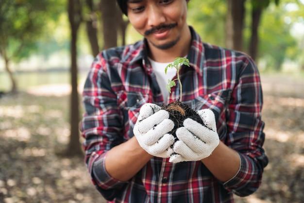 Homem segurando uma árvore nova na floresta