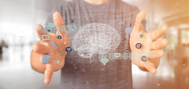 Homem segurando uma inteligência artificial com um cérebro e app