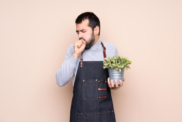 Homem segurando uma planta sobre parede isolada está sofrendo de tosse e se sentindo mal