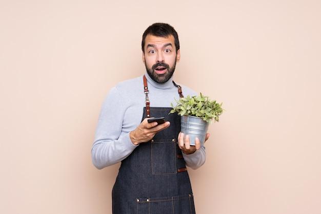 Homem segurando uma planta sobre parede isolada surpreendeu e enviando uma mensagem