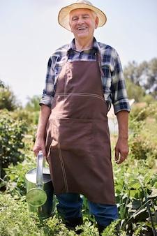 Homem sênior trabalhando no campo