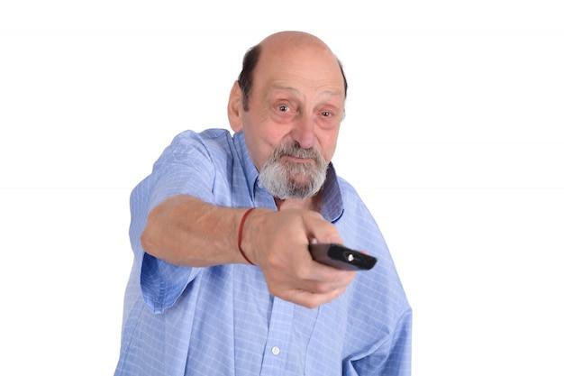 Homem sênior, tv assistindo, com, controle remoto