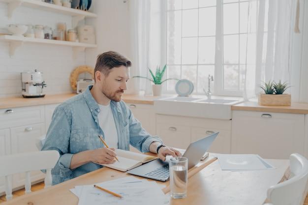 Homem sério trabalhando em um laptop online, sentado à mesa da cozinha e olhando para a tela do computador, homem focado escrevendo notas enquanto estuda online ou pesquisando informações para seus relatórios