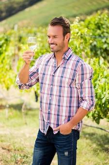 Homem sorridente segurando um copo de vinho na vinha