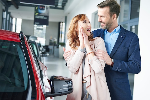Homem surpreendendo mulher com carro novo