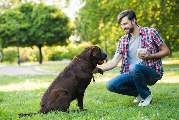 Homem, tendo divertimento, com, seu, cão, em, jardim