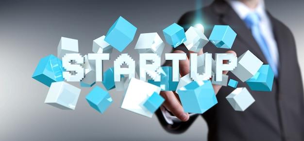 Homem, tocar, flutuante, 3d, render, startup, apresentação, com, cubo