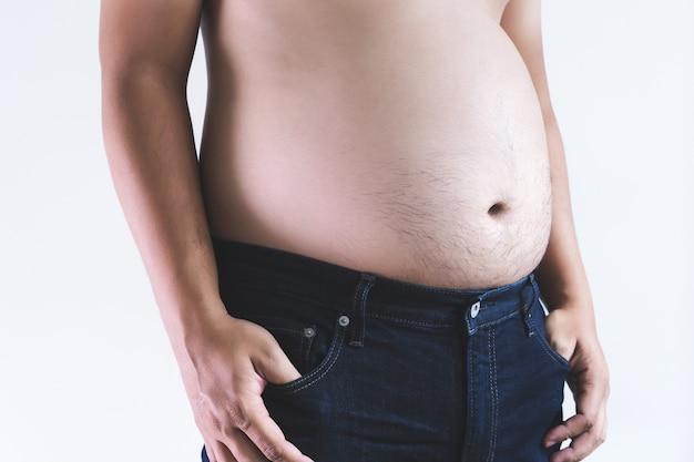 Homem, tocar, seu, gorda, barriga, gordinho