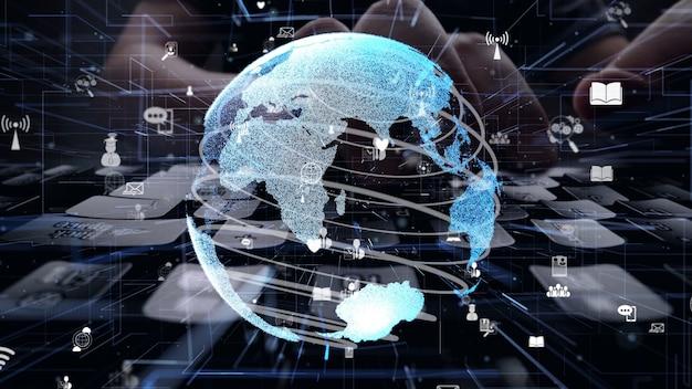 Homem trabalhando no computador com gráfico de conexão global