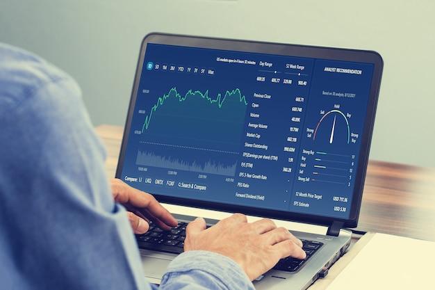 Homem usando computador, negociando on-line, homem investindo em negociação na bolsa de valores