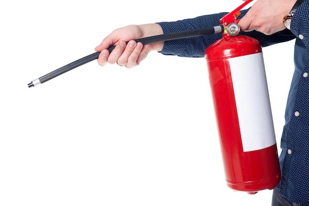 Homem, usando, extintor fogo, isolado, branco