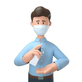 Homem vestindo máscara médica e limpeza de mãos com gel anti-séptico desinfetante