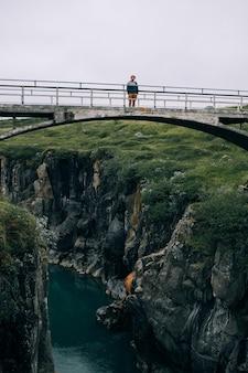 Homem viajante caminhando pela paisagem islandesa