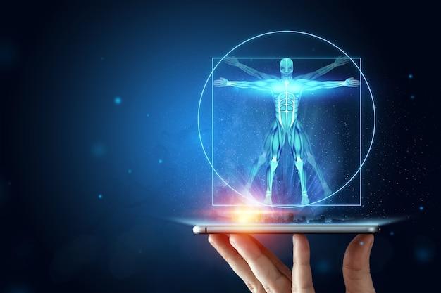 Homem vitruviano do holograma, a estrutura dos músculos humanos, a biologia do sistema muscular. conceito de anatomia humana.