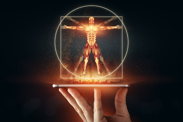 Homem vitruviano do holograma, a estrutura dos músculos humanos, a biologia do sistema muscular. conceito de anotomia humana.