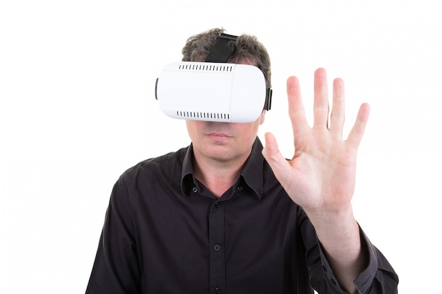 Homem, vr, retrato, homem negócios, em, realidade virtual, 3d, óculos