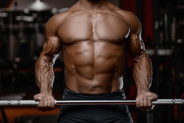 Homens atléticos fisiculturista forte brutal velho bombeando músculos com halteres