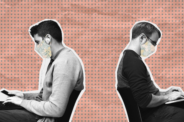 Homens com máscara facial distanciamento físico durante o trabalho no escritório