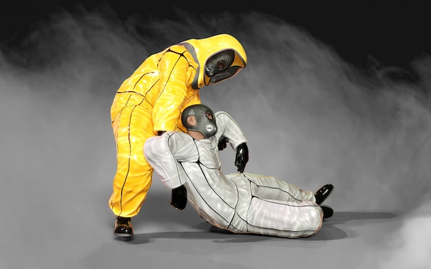 Homens da ilustração 3d, em ternos amarelos e brancos do risco biológico protetor do vírus que ajudam-se no vírus da corona ou na situação do covid-19 surto, isolados no fundo escuro, com trajeto de grampeamento
