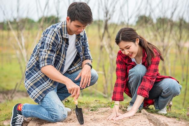 Homens e mulheres ajudam a cultivar árvores.