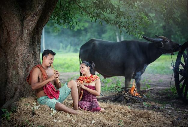 Homens e mulheres sentadas por árvores e búfalos em campos rurais na zona rural, tailândia