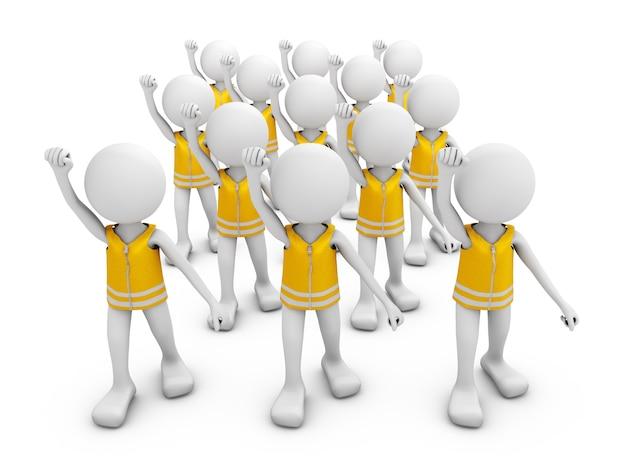 Homens sem rosto em coletes amarelos protestam.