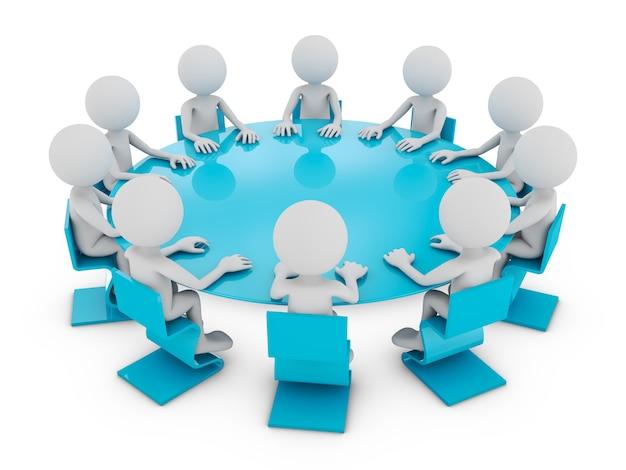 Homenzinhos na mesa redonda