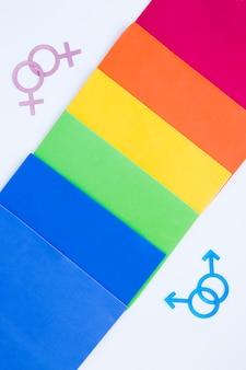 Homossexual casais ícones com arco-íris de papéis