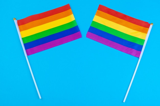 Homossexual - close-up de bandeiras do arco-íris