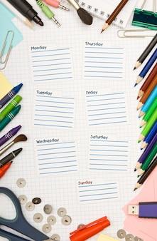 Horário escolar em branco da semana