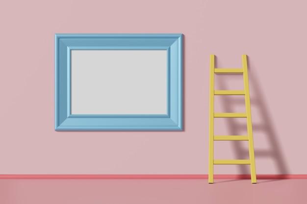 Horizontal maquete imagem moldura azul cor pendurado em uma parede rosa perto da escada. conceito multicolorido abstrato dos desenhos animados das crianças. renderização em 3d