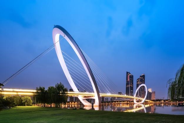 Horizonte da cidade de nanjing na china e edifícios modernos, paisagem crepuscular