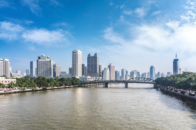 Horizonte da paisagem arquitetônica do centro da cidade de ningbo, china