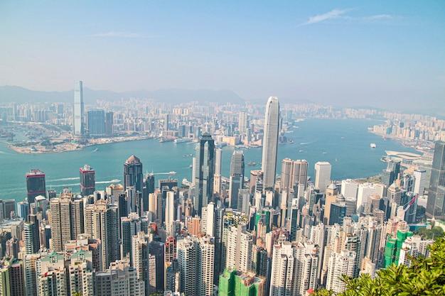 Horizonte da paisagem urbana de arranha-céus de hong kong