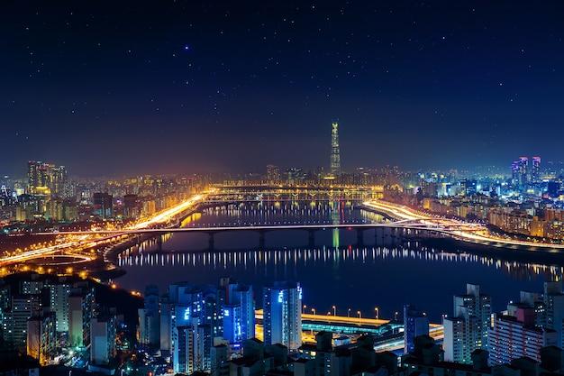 Horizonte de seul na coreia do sul, paisagem urbana na coreia do sul