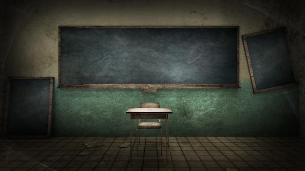 Horror e sala de aula assustadora na escola. renderização 3d Foto Premium