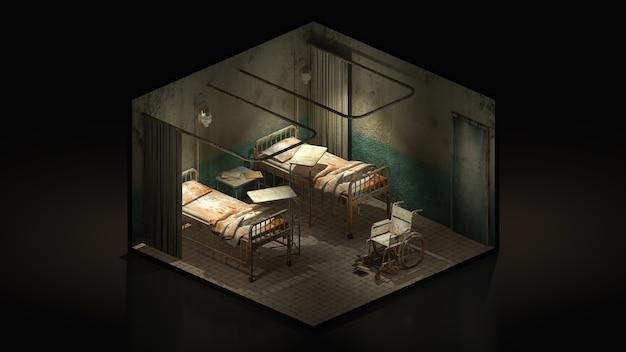 Horror e sala de enfermaria assustadora no hospital com cadeira de rodas., ilustração 3d isomatric.