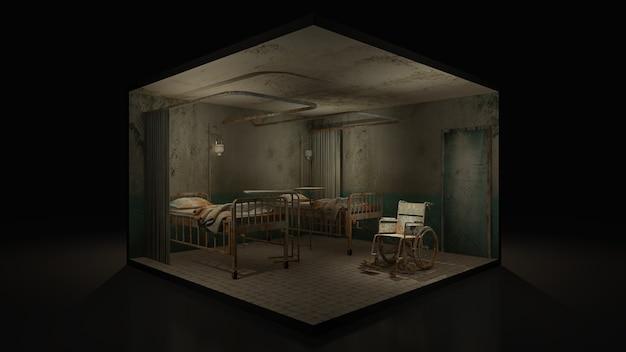 Horror e sala de enfermaria assustadora no hospital com cadeira de rodas, ilustração 3d.