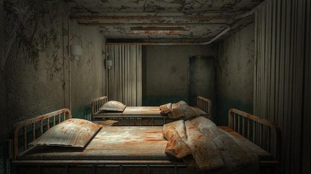 Horror e sala de enfermaria assustadora no hospital com renderização .3d de sangue