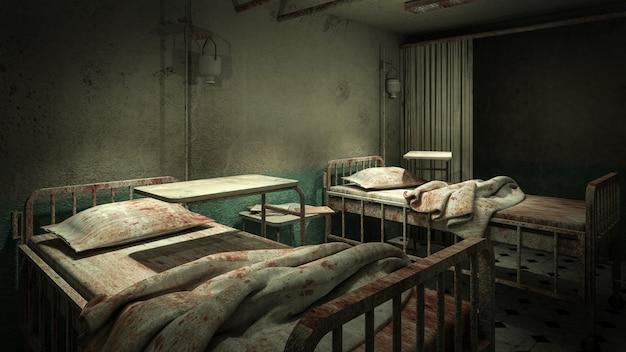 Horror e sala de enfermaria assustadora no hospital com sangue
