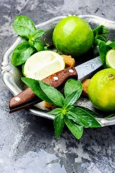 Hortelã fresca verde e limão
