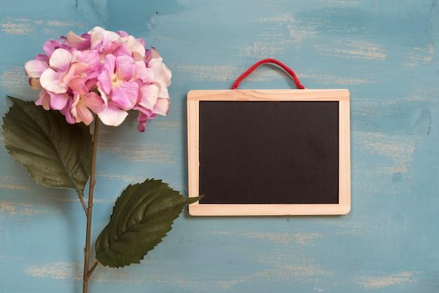 Hortênsias rosa com quadro-negro