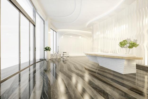 Hotel de luxo moderno e recepção de escritório e salão de estar