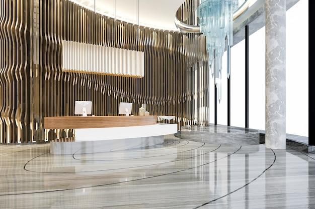Hotel de luxo moderno e recepção e lounge