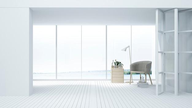Hotel interior relaxar espaço renderização em 3d - fundo de vista de natureza